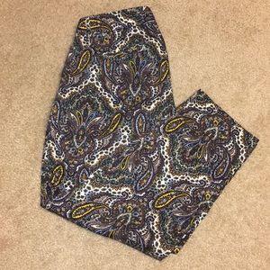 J. CREW Capri pants with paisley patterns